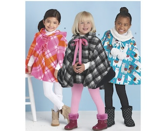 Sewing Pattern for Child's Poncho, Girls 3 - 8,, Simplicity Pattern 8524, Girls Hooded Poncho, Cowl Neck Poncho