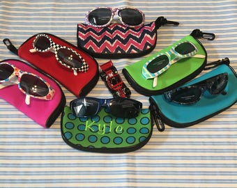 Kid's Sunglass Case With Sunglasses, Eyewear Case, Zipper Closing, Hanging Clip