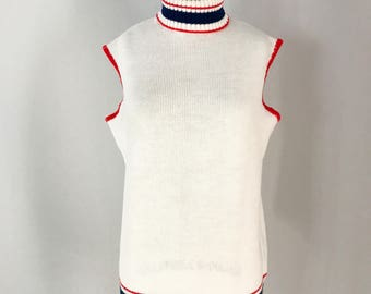 Vintage Red, White, and Blue Nautical Knit Sleeveless Sweater Top by Risa Turtleneck Sweater Vest Size Medium Large - OSV0206