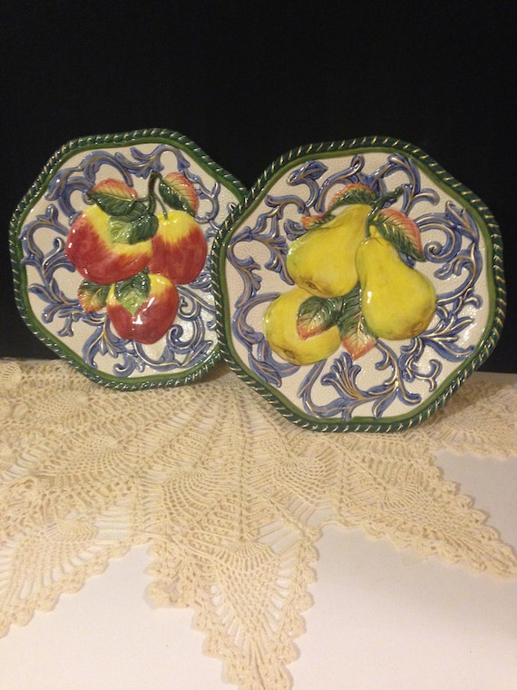 Fitz and Floyd Fruit Plate Decorative Wall Mounting Holes