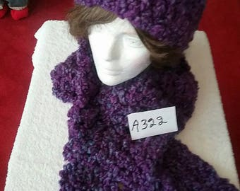 Purple Winter Scarf and Hat Set
