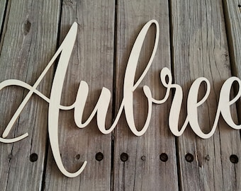 Wooden Name - Unpainted Name Wall Hanging - Nursery Wall Hanging - Dorm Room Wall Hanging