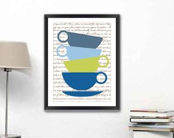 Kitchen Wall Decor - Kitchen Wall Art - Kitchen Art - Tea Cups Kitchen Print - Tea Cups illustration - Modern Kitchen Print