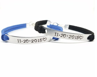 Anniversary Gift | Custom Anniversary Date Bracelets | Matching Couples Bracelet | Personalized His and Hers Bracelet | Date and Heart