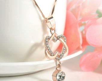 Double Heart Infinity Necklace, Infinity Knot Necklace With rhinestone accent, Gift For Women, rose gold heart necklace,double heart charm,