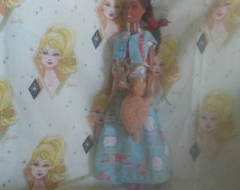 Barbie out fit in blue red tan airmail fabric