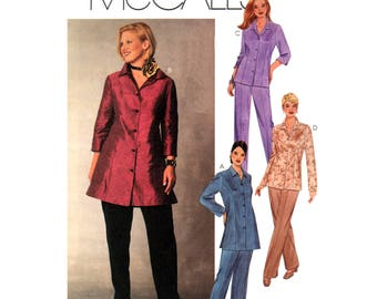 01 McCall's 3459 Princess Seam Shirt in Two Lengths with Two Sleeve Lengths & Pants, Uncut, Factory Folded, Sewing Pattern Plus Size 18-24