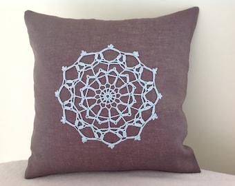 Feather cushion Linen cover with vintage doily appliqué