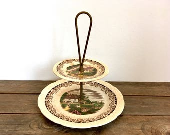Vintage cake stand, 2 tier cake stand, cupcake stand, appetizer plate, farmhouse decor, rustic cake stand, shabby chic, Boerenhoeve Holland