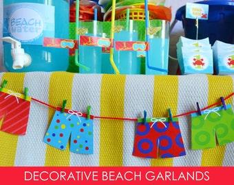 Beach Ball Banner / Garland / Swim Trunk Garland / Pool Party Decorations / Beach Party Banner /  Beach Party / Beach Birthday / Printable