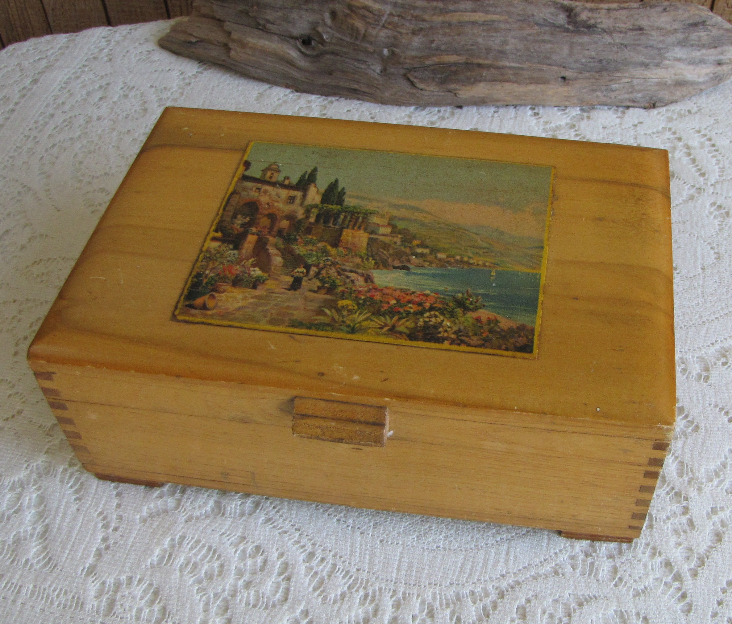 1940s Wood Jewelry Box Vintage Jewelry and Accessories Storage