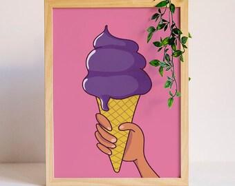 Ice Cream Sign, Ice cream Print, Ice cream Cone Art, Kids Room Sign, Girls Wall Decor, Summer Print, Nursery Wall Art, Printable Art