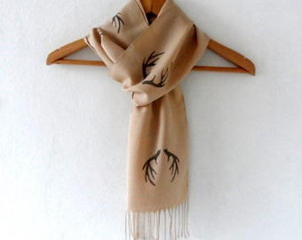 Antler Scarf , Hand stamped Light Beige Cotton Tassel scarf, wedding scarf