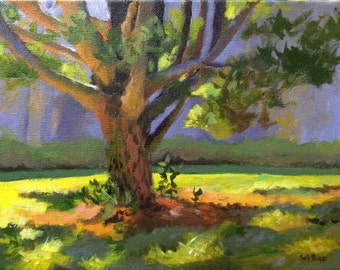 "20% off Original Acrylic Abstract landscape painting- Quiet place at Kent park - 9"" x 12"""