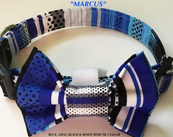 Blue, Gray, & Black Striped Male Dog and Cat Collar with Bow Tie