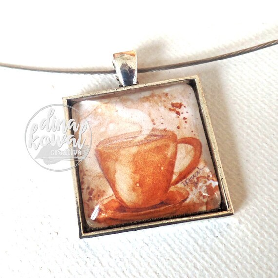 Coffee painting - painted with coffee - domed glass tile pendant necklace