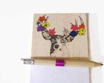 Magnet notepad - Fridge magnet - Deer notepad - Magnetic notepad - Shopping list - Wood notepad - Deer fridge magnet - Grocery list - Deer