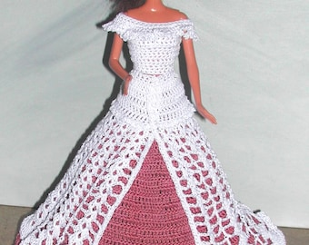 Crochet Fashion Doll Barbie Pattern- #687 EVENING AFTER SIX #3