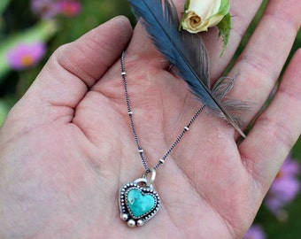 Mini Turquoise Heart Cabochon Sterling Silver Pendant Necklace, rustic, artisan, metalwork, handmade, boho, gypsy