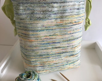 Handwoven Large Knitter's Project Bag | Crochet Project Bag | White Green Blue Scrappy Bag | OOAK | Unique Bag | Gift For Her | Knitting