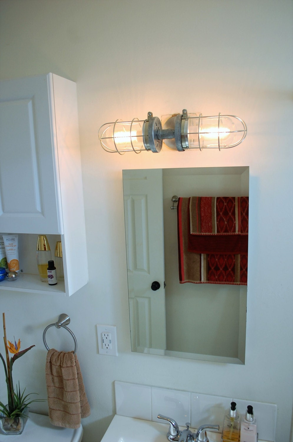 Bathroom Sconce Lighting.  zoom Industrial wall sconce bathroom light double cage