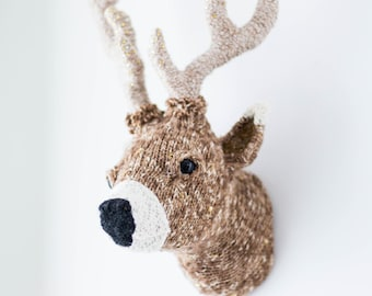 Handmade Faux Taxidermy - Home or Holiday (Christmas) Decor - Deer Head Wall Art - Paper Mache, Hand Beaded and Recycled Materials
