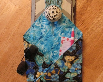 "Handmade Reversible ""Forget-Me-Not"" Doorknob Pocket, Organizational Reminder Pouch, butterflies and water"