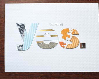 Why not say yes - DIN A5 (21x15 cm) Collage Print - Wall Art Decor