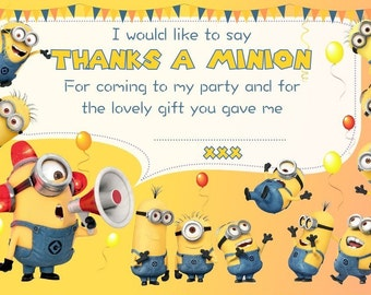 Minions Party Thank You's (10 pack)  c/w Envelopes