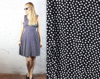 90's Polka Dot Summer Dress in Black and White in Women's Medium or Large . Breezy Sweet Rayon Lightweight 1990s Vintage Sleeveless