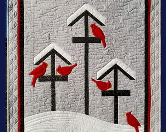Winter Feed, Wall Hanging, Bird Feeders, Birds, Cardinals, Snow, Holiday Decor, Winter, Wall Decor, Quilt Wall Hanging Pattern, Modern Decor