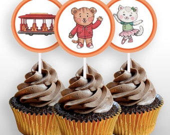 """INSTANT DOWNLOAD Daniel Tiger Cupcake Toppers or 2"""" Round Stickers, Daniel Tiger's Neighborhood Decorations, Printable Party Decor .pdf file"""
