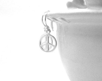 Sterling Silver Peace Sign Earrings, Small Peace Sign Earrings, Peace Jewelry, Peace Earrings, Sterling Silver Jewelry, Small Peace Earrings