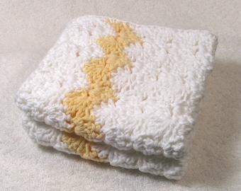 2 large Bright White Yellow Washcloths