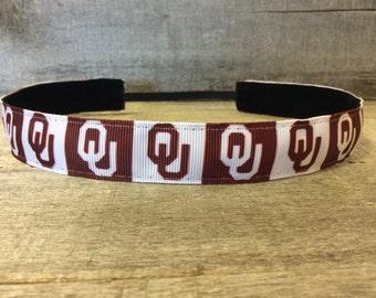 Oklahoma University Nonslip Headband,  Noslip Headband, Workout Headband, Sports Headband, Running Headband, Athletic Headband