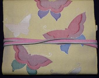 Vintage Japanese Nagoya Obi Belt and Obijime Set - Butterflies on Yellow