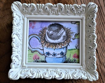 Baby Bird Art, Bird Watercolor, Sparrow In Teacup, Bird Print, Bird Painting, Baby Bird Watercolor, Bird in Teacup, Framed Bird Art, Bird