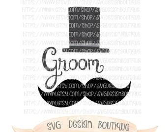 Wedding SVG, Groom SVG, Top Hat Svg, Mustache Svg - Groom Cut file, Vinyl cutting File  - DXF-  Groom Cutting Files - Wedding Cutting Files
