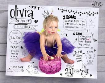 Birthday Milestone Poster, Birthday Picture Poster, Birthday Sign, Info Birthday chart, DIGITAL FILE, BB024