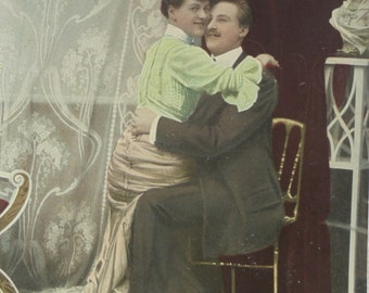 Vintage French Postcard - Romantic Couple Hugging Each Other