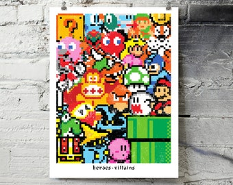 "Heroes and Villains Videogames Screenprinted Poster - 18"" x 24"""