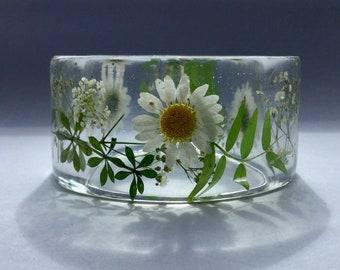Daisy bangle,daisy bracelet,real flower bangle