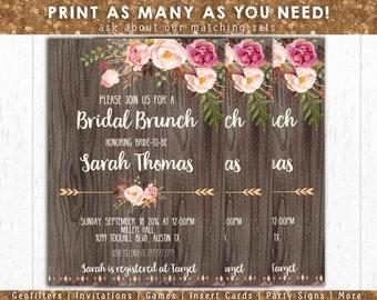 Bridal Brunch Invitation, Printable Bridal Invite, Floral Bridal Brunch Invitation, Rustic Boho Bridal Shower Invite, Bride to be Invite