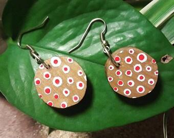 Polka Dotted Wooden Earrings