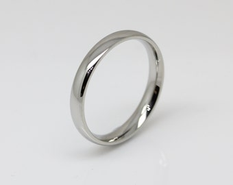 3mm wide Surgical Steel Comfort Fit / Court Shape Plain band Wedding Ring