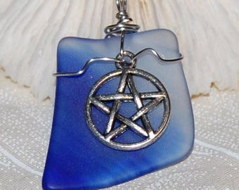 Pentacle Blue Glass Pendant Handmade Recycled Jewelry