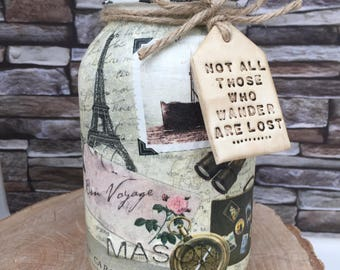 Handmade Vintage Travel Mason Jar with Not all those who wander are lost clay tag