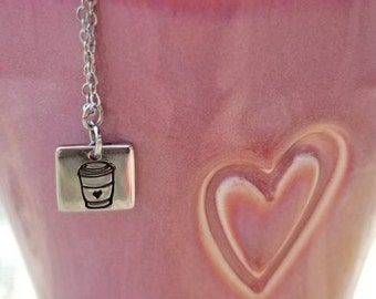 Coffee on My Mind Stamped Charm Necklace