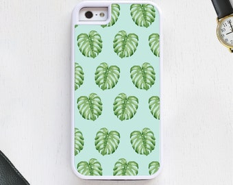 Tropical Hawaiian Tree Leaf Green Design on Blue Cell Phone Case protective bumper cover iPhone6 iPhone7 Android s5 s6 s7 note4 note155