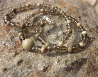 for a kid: Smoky Quartz and Silver Leaf Jasper Necklace